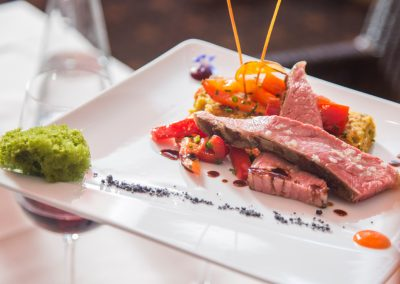 A culinary creation consisting of steak, egg and bell pepper, being served at the wellness hotel SCHWARZWALD PANORAMA