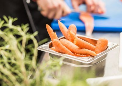 A closeup of organic carrots being used in the kitchen of the hotel SCHWARZWALD PANORAMA