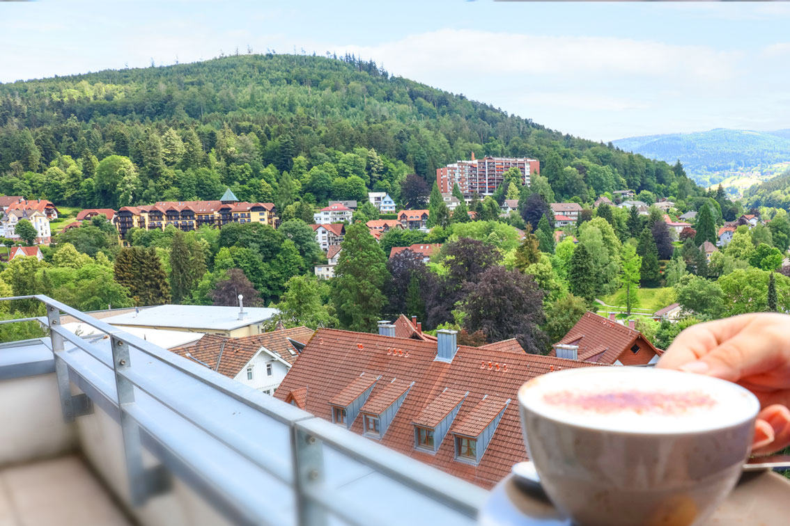 View from the balcony of an apartment in the Hotel Schwarzwald Panorama with views of Bad Herrenalb and the nature of the Black Forest